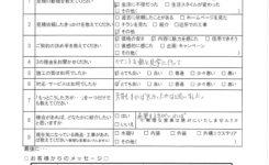 T様邸キッチン改修工事 アンケート