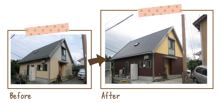 大きな屋根の2階建て住宅。1階外壁が薄い黄色から濃い茶色へ、2階が白系の色から濃い黄色になり、面ごとで表情が変わる見た目となりました。