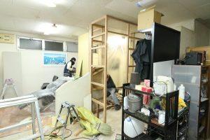 施工中写真。壁下地作成の様子。