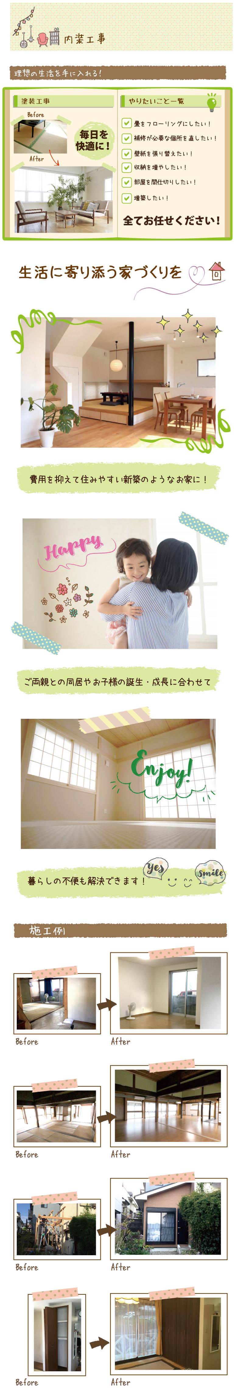 内装工事で希望が多い箇所。畳をフローリングにしたい。補修が必要な個所を直したい。壁紙を張り替えたい。収納を増やしたい。部屋を間仕切りしたい。増築したい等、全てお任せください。