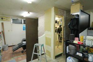 施工中写真。壁作成後の様子。