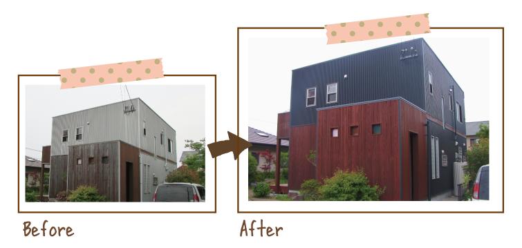 玄関とベランダ部分が木目調の家。木目調部分が赤茶色になり、黒く塗った外壁のアクセントとなりました。